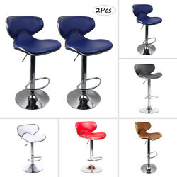 2pcs Chic Adjustable Height Chairs Bar Stools Pub Dining Swivel Chair Pu Leather