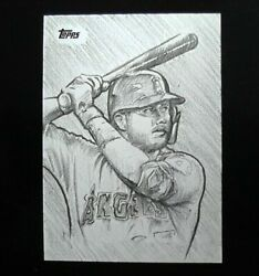 Mike Trout 2021 Topps Series 2 Sketch Card 1/1 Flagship Rare Anthony Skubis
