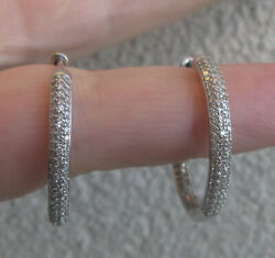 7900 Large 14k White Gold 1.75ct Diamonds In -out Hoop Earrings