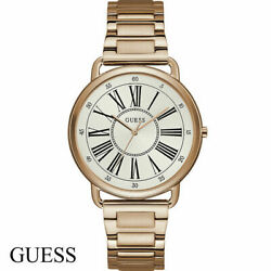 Guess W1149l3 Kennedy White Rose Gold Stainless Steel Women's Watch New