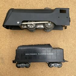 Marx Wind-up Train Set W/ Engine And Tender Southern Pacific Lines Working Bell