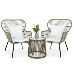 3-piece Patio Rattan Wicker Conversation Bistro Set W/ Side Table Cute Chairs Us