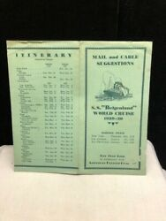 Vintage Red Star Line S. S. Belgenland Mail, Cable, Itinerary Brochure 1929-30