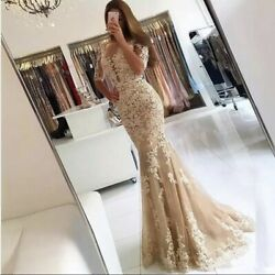 Mermaid Formal Lace Full length Evening Women#x27;s Dress Champagne $122.00