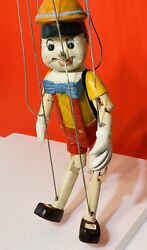 Vintage Carved Handpainted Wooden Marionette Puppet Pinocchio 16