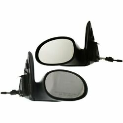 Manual Remote Mirror For 2004-09 Chrysler Pt Cruiser Gt Wagon Textured Black 2pc