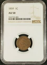 1859 Indian Head Cent Ngc Au50 5947722-003 Exquisite Coin Rare