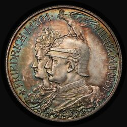 1901 German States Prussia Silver 2 Mark Mk Pcgs Ms63 Toned 200 Years J-105 24