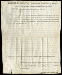 James Monroe - Land Grant Signed 10/07/1823 Co-signed By George Graham