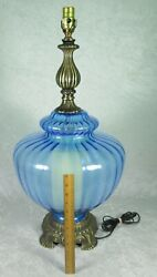 Vintage Large Hollywood Regency Blue Turquoise Glass Lamp Night Light 34-1/2in T