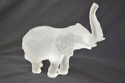Daum Jean Francois Leroy Signed Large Frosted White Glass Elephant Crystal 8