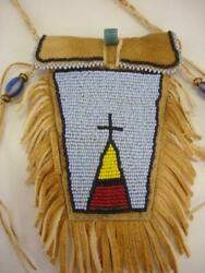 Beaded Native American Crow Indian Medicine Bag Necklace Leather Fringe Pouch