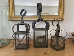Lot Of Three Antique Primitive Original Colonial Early Tin Candle Lanterns