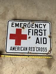 Vintage Porcelain American Red Cross Emergency First Aid Sign