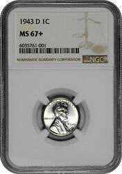 1943 D 1c Lincoln Steel Wheat Cent Ngc Ms 67+