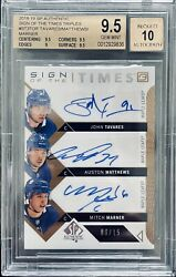 2018-19 Sign Of The Times Triples Tavares/matthews/marner Auto 06/15 Bgs 9.5