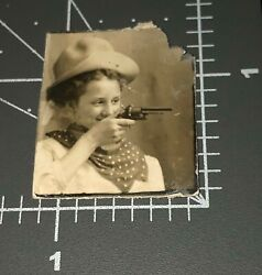 1900and039s Woman Aims Pistol Gun Cowgirl Revolver Vintage Arcade Photo Booth