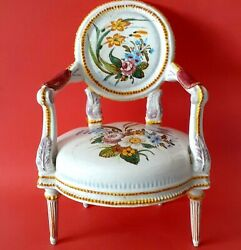 Vintage Armchair Couch Earthenware -porcelain/painted By Hand Doll Showcase Old
