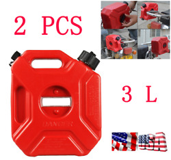 2x Portable Plastic 3l Motorcycle Car Jerry Cans Gas Diesel Fuel Tank With Clamp