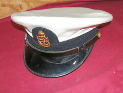 Old Us Navy Hat White Sailor Chief Petty Officers Usn Wwii Ww2 Visor Cap Vintage