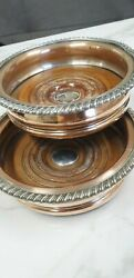 Antique Pair Of Copper Silver [plate And Wood Wine Bottle Coasters