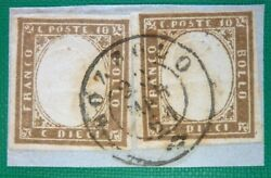Italy Old States 1861 Sardinia Iv Issue Pair Of 10 C. Brown Bozzolo 2c- Raybaudi