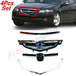 For 2004-06 Acura Tl Front Center Upper Bumper Lower Grille Hood Molding Set 4pc