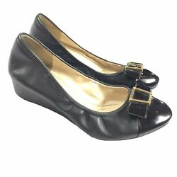 180 Cole Haan Grand Os Emory Bow Wedge Size 7 B Womens Black Leather Buckle Toe