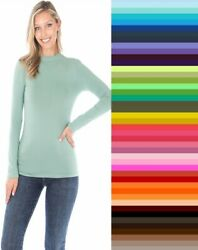 Womens Mock Turtleneck Long Sleeve Soft Cotton Solid Stretch T Shirt Top S M L $10.95