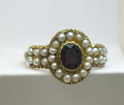 Late Georgian / Victorian Garnet And Pearl 12 Ct Gold Ring