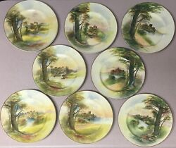Very Rare C1928 Hand-painted Royal Doulton Castle Series Plates, Set Of 8