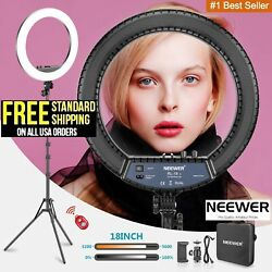 Neewer 18 Led Ring Light Kit With Stand Dimmable 5600k For Makeup Phone Camera