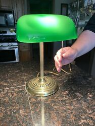 Vintage Bankers Desk Lamp- Green Glass Shade- Pull Cord- Excellent Working Cond.