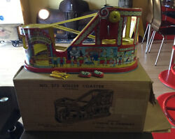Vintage Tin Lithograph Roller Coaster U.s.a. J. Chein Co. With Box A++