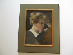 Antique Charles Gruppe Oil Painting Rare Female Woman Model Listed American Art
