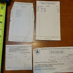 New England Telephone Telegraph Company 1920s Lot Monthly Bill Rare Old