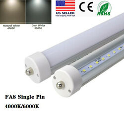 4000k/6000k Single Pin Fa8 T8 8ft Led Tube Clear Or Frosted Lens 40w Shop Bulbs