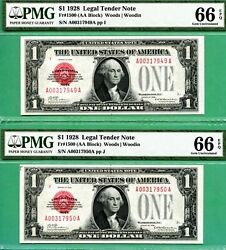 Two Consecutive 1928 1 United States Notes - Both Pmg Gem 66 Epq - Fr 1500