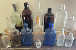 Old Vtg Embossed Medical Apothecary Glass Milk Magnesia Ayer Sauer 15 Bottle Lot