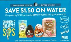 25 Coupons-1.50 Off 2 Water Wyb Mio, Country Time, Kool Aid Drinks Kraft 12/31