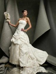 Authentic St. Pucchi Hannah Z306 Strapless Lace Wedding Dress Ivory Silk 6