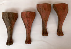 Vintage Antique Set 4 Cast Iron Wood Burning Cook Stove Legs 6.5 Inch Tall