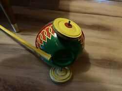 Vintage J.chein And Co. Tin Corn Popper Push/ Pull Kids Toy - Very Rare.