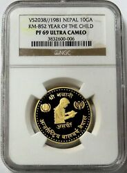 1974 Gold Nepal 10 Asarphi Year Of The Child Coin Ngc Proof 69 Ultra Cam
