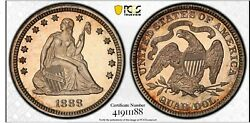 1888 Seated Liberty Quarter Pcgs Pr64 Silver Proof Coin