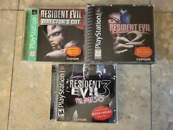 Resident Evil 1 2 3 Ps1 Lot Complete Rare Playstation 1 Complete Cib Tested