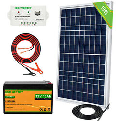 Eco 10w Solar Panel Kit 12v Battery Charger 10ah Lifepo4 Battery For Camping Rv