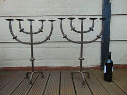 Pair Antique 19th Century French Gothic Medieval Church Hand Forged Candelabra