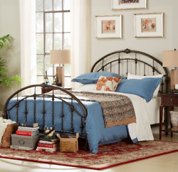 Vintage Style Metal Bed Frame Queen With Headboard Footboard Antique Iron Design