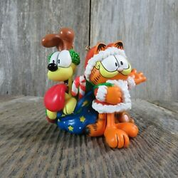 Vintage Garfield And Opie Ornament Carlton Cards Mischief Makers Flocked Santa H